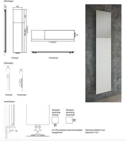 Instamat Volata M designradiator verticaal 201 x 35 cm (H x L) wit