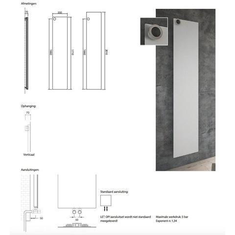 Instamat Volata O designradiator verticaal 171 x 35 cm (H x L) wit