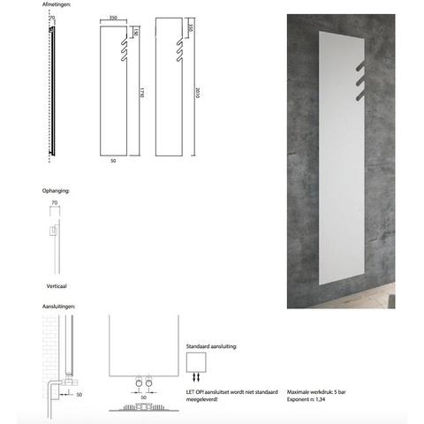 Instamat Volata T designradiator verticaal 201 x 35 cm (H x L) wit