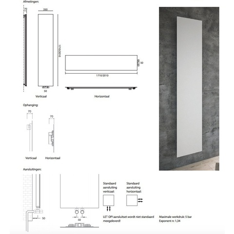 Instamat Volata V designradiator horizontaal 35 x 201 cm (H x L) wit