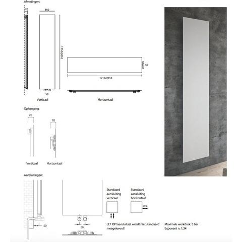 Instamat Volata V designradiator verticaal - 201 x 35 cm (H x L) wit