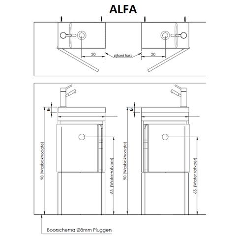 Thebalux Alfa fonteinmeubel - links - bardolino eiken - met spiegel met LED lichtbaan