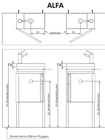Thebalux Alfa fonteinmeubel - links - eiken antraciet - met spiegel