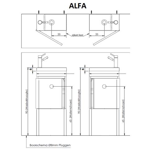 Thebalux Alfa fonteinmeubel - rechts - authentic oak - met spiegel met LED lichtbaan
