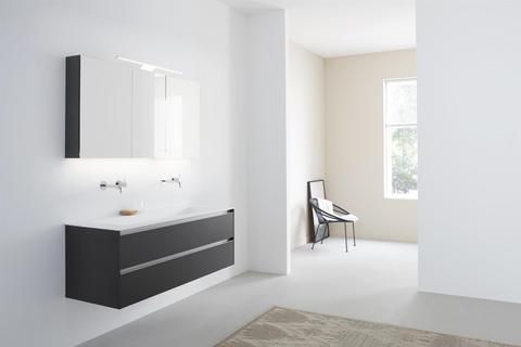 Thebalux Basic spiegelkast - 150x70cm - antraciet mat lak