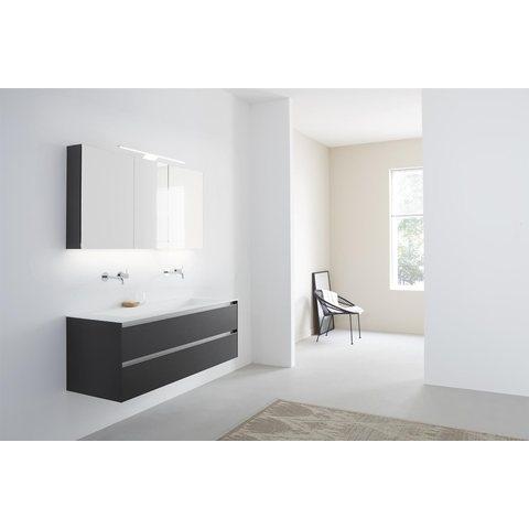 Thebalux Basic spiegelkast - 60x70cm - wit hoogglans - linksdraaiend