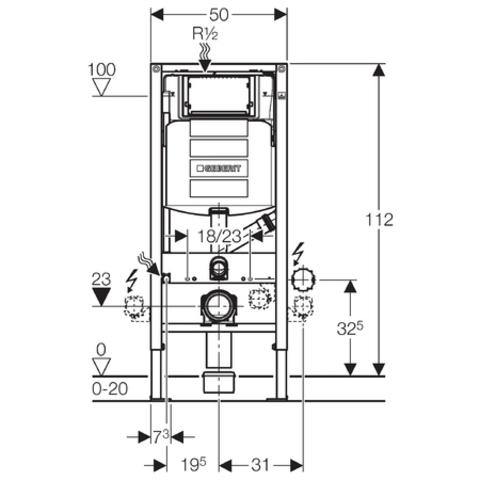Geberit DuoFresh inbouwreservoir UP320 met geurafzuiging