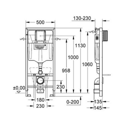 Grohe Rapid SL wc element inbouwreservoir
