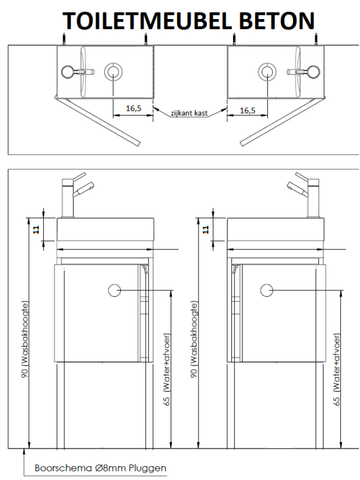 Thebalux Beton fonteinmeubel - links - bardolino eiken - zonder spiegel