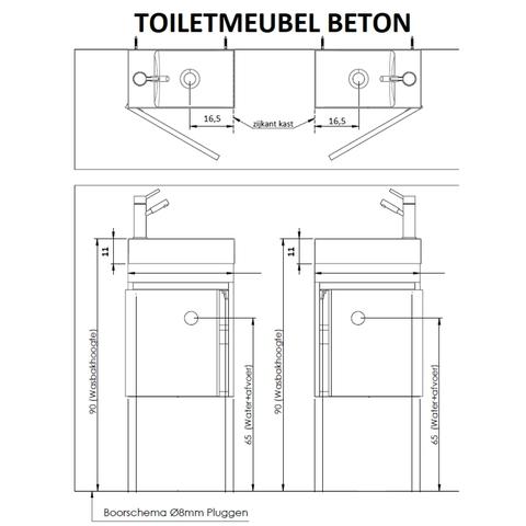 Thebalux Beton fonteinmeubel - links - cape elm - spiegel