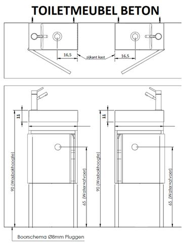 Thebalux Beton fonteinmeubel - links - cubanit grijs - spiegel
