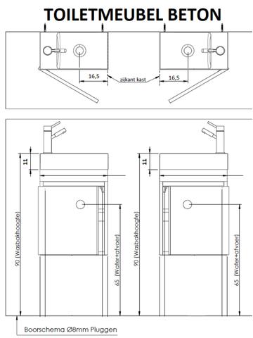 Thebalux Beton fonteinmeubel - links - cubanit grijs - zonder spiegel