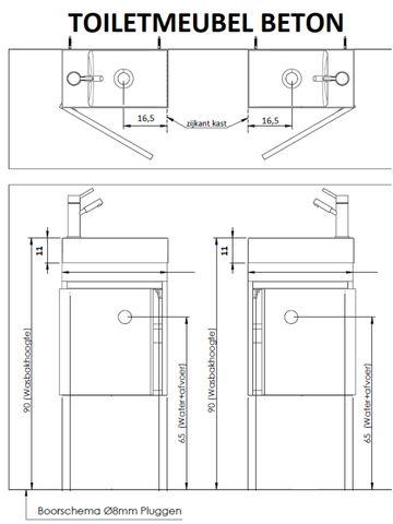 Thebalux Beton fonteinmeubel - rechts - eiken antraciet - spiegel met LED lichtbaan