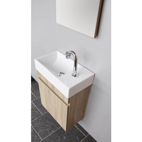 Thebalux Day fonteinmeubel - links - bardolino eiken - wastafel keramiek - zonder spiegel