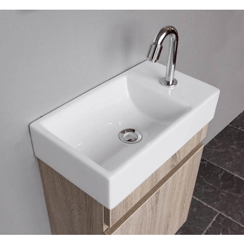 Thebalux Day fonteinmeubel - links - eiken antraciet - wastafel keramiek - zonder spiegel