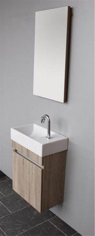 Thebalux Day fonteinmeubel - links - natural oak - wastafel keramiek - spiegel met LED lichtbaan