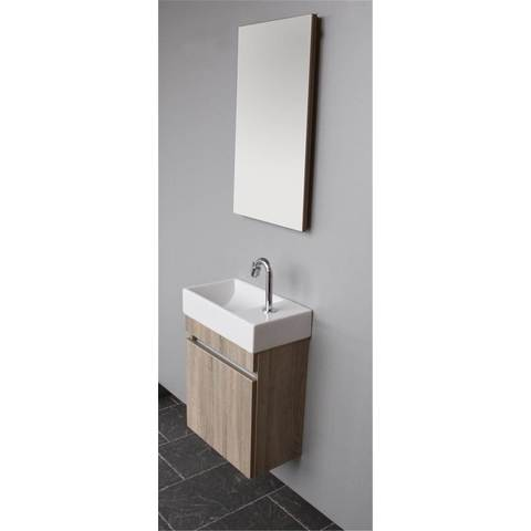 Thebalux Day fonteinmeubel - rechts - authentic oak - wastafel keramiek - spiegel