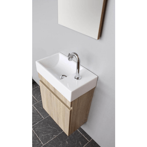 Thebalux Day fonteinmeubel - rechts - natural oak - wastafel keramiek - spiegel