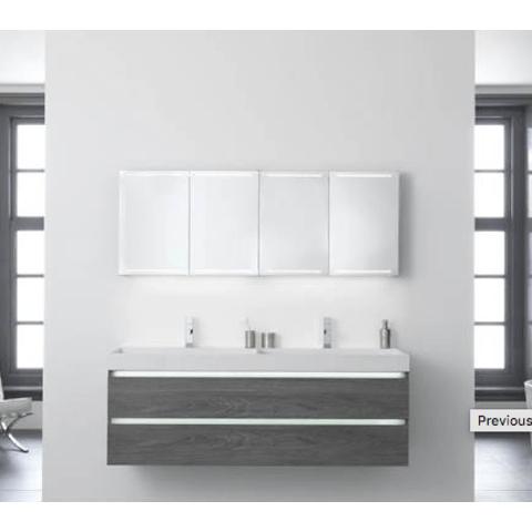 Thebalux Deluxe spiegelkast - 130x60cm - antraciet mat