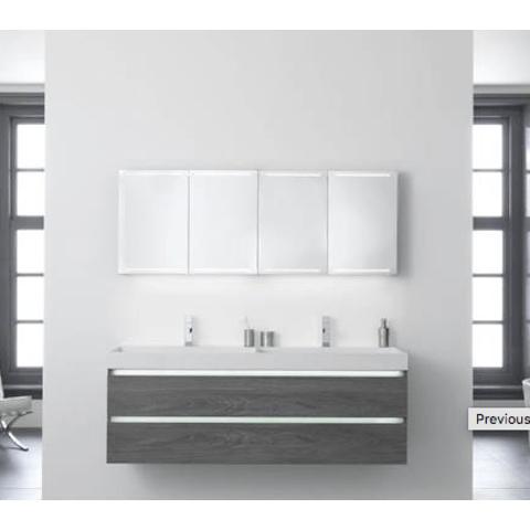 Thebalux Deluxe spiegelkast - 130x70cm - antraciet mat lak