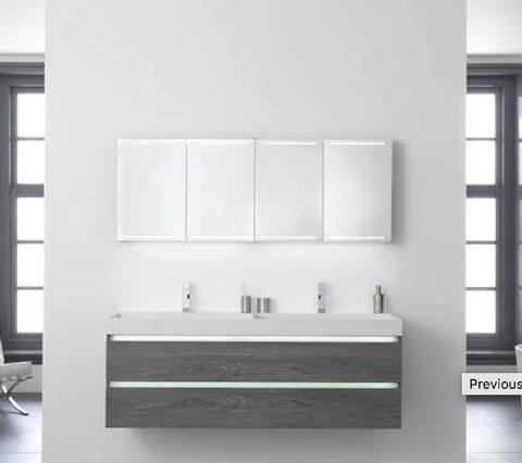 Thebalux Deluxe spiegelkast - 140x70cm - wit hoogglans lak