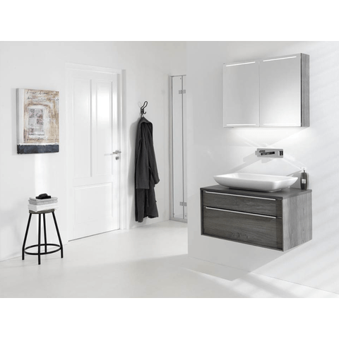 Thebalux Deluxe spiegelkast - 160x70cm - antraciet hoogglans