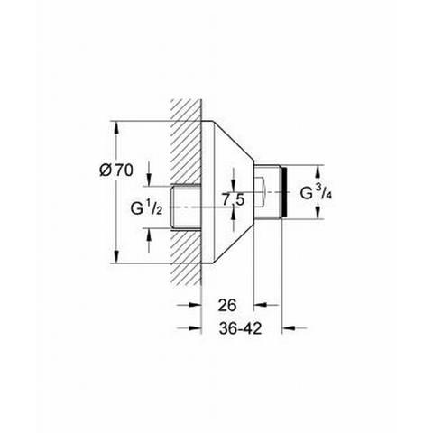 """Grohe  s-koppelingen met roset 1/2""""x3/4"""" set a 2 stuks chroom"""