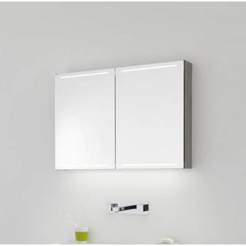 Thebalux Deluxe spiegelkast - 80x70cm - zijdeglans zwart
