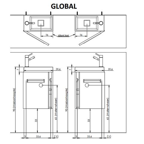 Thebalux Global fonteinmeubel - links - cape elm - zonder spiegel