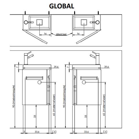 Thebalux Global fonteinmeubel - links - eiken antraciet - spiegel met LED lichtbaan