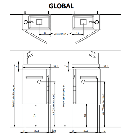 Thebalux Global fonteinmeubel - hoogglans wit