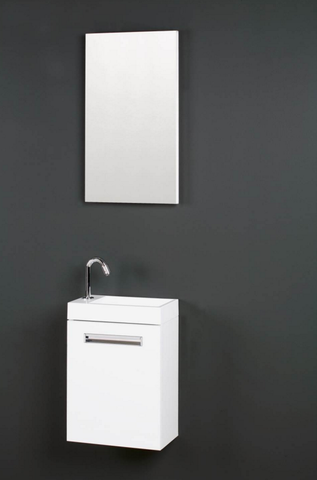 Thebalux Global fonteinmeubel - links - wit glans - spiegel met LED lichtbaan