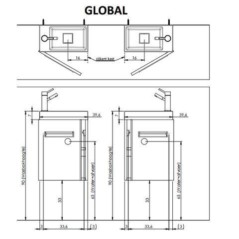 Thebalux Global fonteinmeubel - rechts - cape elm - spiegel