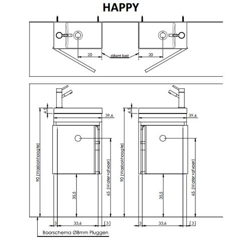 Thebalux Happy fonteinmeubel - links - cubanit grijs - spiegel met LED lichtbaan