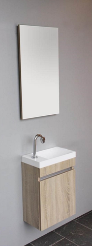 Thebalux Happy fonteinmeubel - links - jackson pine - spiegel met LED lichtbaan