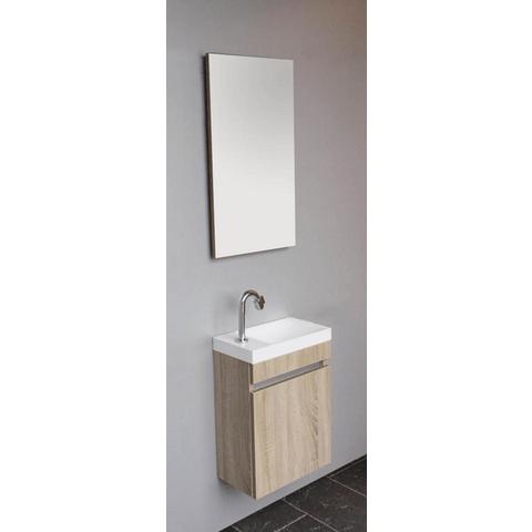 Thebalux Happy fonteinmeubel - rechts - cape elm - spiegel met LED lichtbaan
