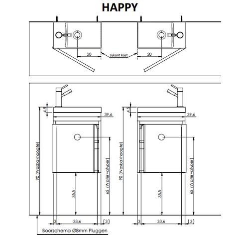 Thebalux Happy fonteinmeubel - rechts - glans - zonder spiegel