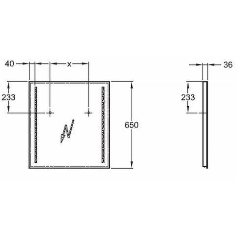 Geberit Option spiegel met led verlichting 60x65cm
