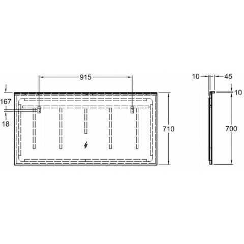 Geberit Xeno2 spiegel met indirecte led-verl.+verwarming 140cm
