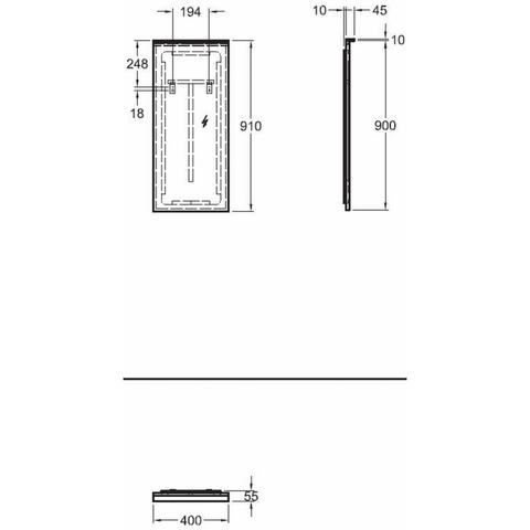 Sphinx 420 fonteinspiegel 40x90cm met LED verlichting & verwarming