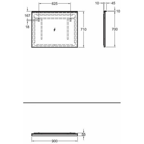 Sphinx 420 spiegel 90x70 cm met rondom LED verlichting & verwarming