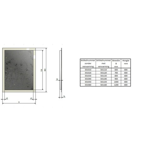 Blinq Nelid spiegel 60x80 cm. met rondom led verlichting