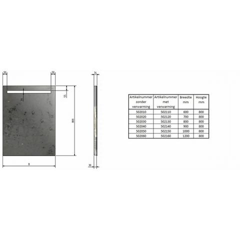 Blinq Nelid spiegel 100x80cm.led boven-ambilight onder+sensor