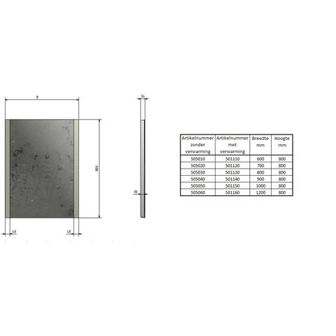 Blinq Nelid spiegel 80x80 li+re.led verlichting m/sensor