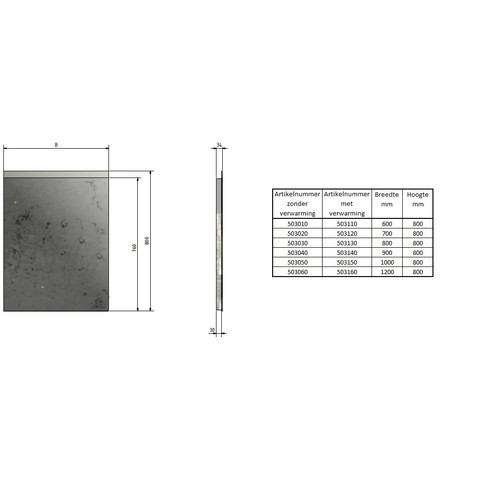 Blinq Nelid spiegel 60x80 boven-onder led+sensor+verwarming