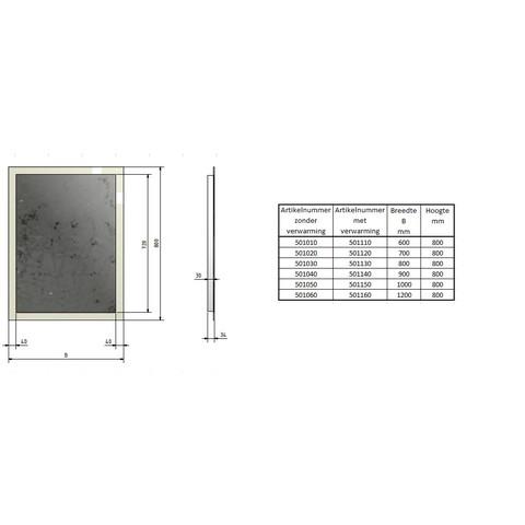 Blinq Nelid spiegel 80x80 cm. met rondom led verlichting