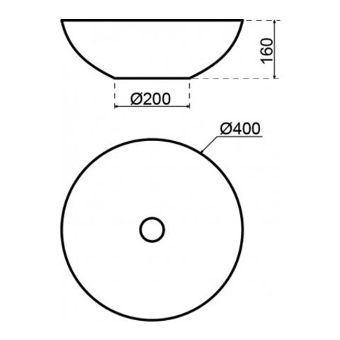 Lanesto Solid Marmo kom opzetwastafel 40cm mat-wit