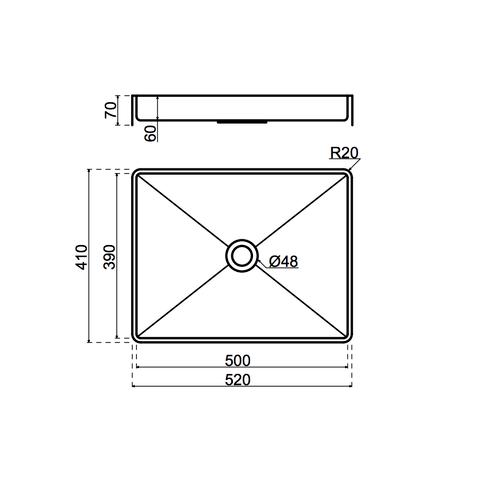 Lanesto Vanity opzetwastafel 52cm - Gun metal