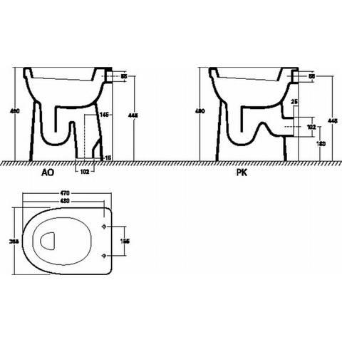 Sphinx 300 Comfort staande toilet AO 10cm verhoogd vlakspoel