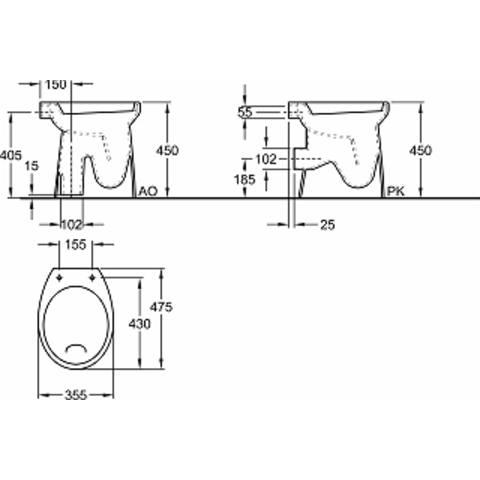 Sphinx 280 staande toilet AO 6cm verhoogd